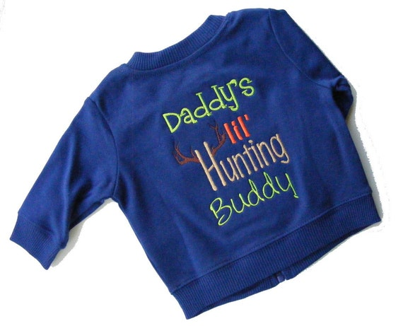 Baby Boys Knit Jacket Embroidered Daddy's 'Lil Hunting Buddy 0 to 3 months