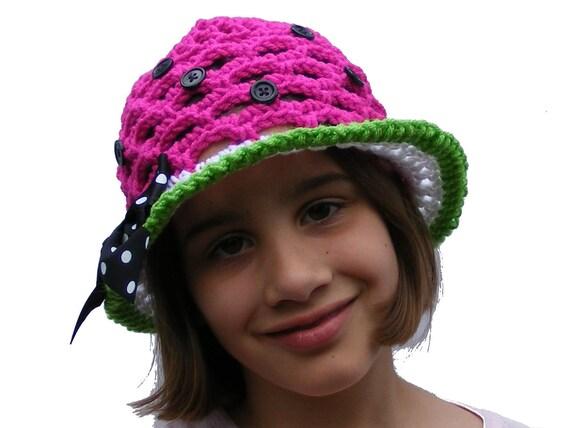Birthday Sale 1.20 - Crochet Hat Patterns - Watermelon or Patriotic Sun Hat - Crochet Sun Hat - Baby thru Tween - Instant Download  No. 53