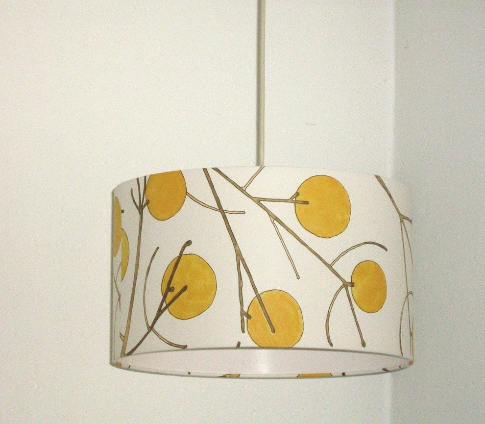 14 inch Yellow branches wallpaper lamp shade