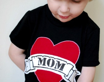 Valentine's Day shirt father Mother's Day Mom Dad Tattoo art Heart Applique tshirt black baby kids children photography prop infant boy girl