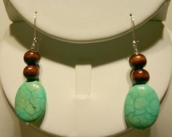Wood and Turquoise earrings