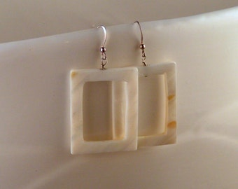 White Mother of Pearl Cut Out Earrings