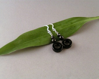 SALE - Onyx Circle Earrings