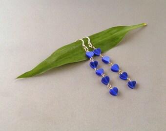 Blue Mother of Pearl Heart Earrings