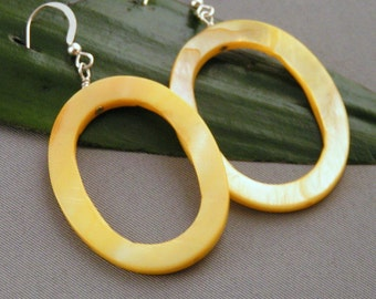 Yellow Oblong Mother of Pearl Earrings