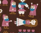 HALF YARD - BROWN Snow White and the Seven Dwarfs - Kokka Trefle - Japanese Import Fabric