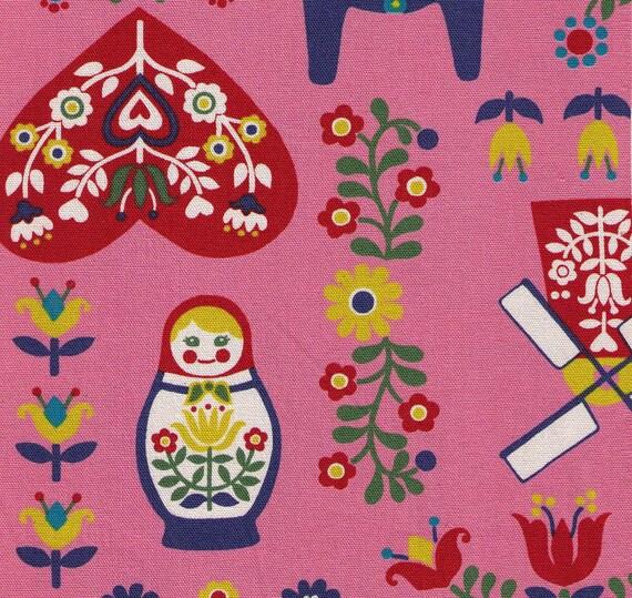 Clearance HALF YARD Kokka Trefle Fabric Scandinavian Motifs with Windmill, Dala Horse, Russian Nesting Doll, Hearts on Pink Japanese Fabric