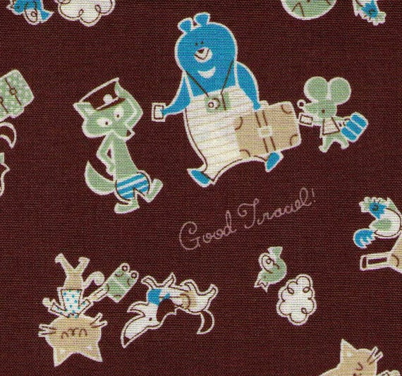 HALF YARD - Kokka Fabric - Good Travel friends Fox Conductor, Bear and Mouse Traveler, Dog, Cat, Chicken with Luggage - Imported Japanese