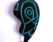 Large Vintage 80s Abstract Lapel Pin Lucite Black and Green Memphis Style Brooch