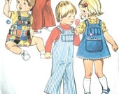 Vintage 70s Toddler Girls or Boys Jumper and or Overalls Sewing Pattern Simplicity 6051 for Size 3