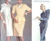 Vintage Vogue American Designer Sewing Pattern 1862 Albert Nipon 31 or 32 Bust 80s Dress and Jacket Big Shoulders Peplum
