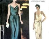 Vintage Vogue American Designer Sewing Pattern 1137 Kasper 36 38 or 40 Bust 80s Strappy Evening Dress Includes Tag