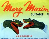 Mary Maxim FUN MITTS Animal Face Mittens Crocodile and Dickey Bird Knitting Pattern Vintage Instructions