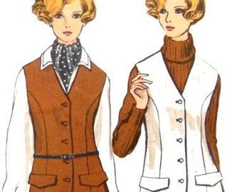 Vogue 7515 Misses Jacket Skirt and Pants  Sewing Pattern 1970s 38 Inch Bust Wide Slacks A Line Skirt Vest