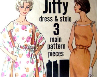 Jiffy Dress and Stole 32 Bust Sewing Pattern Simplicity 4471 Vintage 60s Sleeveless With Shoulder Ties and Tied Bselt