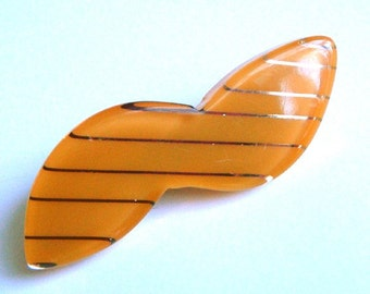 Vintage Lucite Pin Yellow Butterscotch Bow With Thin Gold Stripes Sweet Accessory Brooch