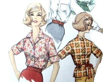 Vintage 60s Blouse Sewing Pattern Simple to Make Shirt Mandarin Collar 34 Bust