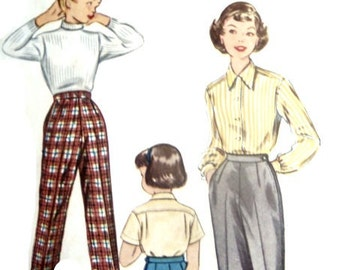 Vintage 50s Girls Pants Sewing Pattern Slacks With 24 Inch Waist From McCalls Uncut