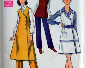 70s Vintage Sewing Pattern Tunic Jumper Skirt and Pants 1970s 36 Inch Bust Funkadelic