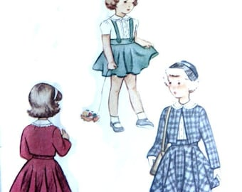 1940s Sewing Pattern Toddler Girls Three Piece Suit Bolero Jacket Jumper Dress and Blouse Size 2