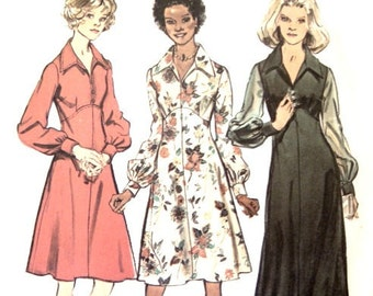 Vintage 70s Sewing Pattern 34 Inch Bust Knee Length or Floor Length Dress Cuffed Sleeves Big Collar