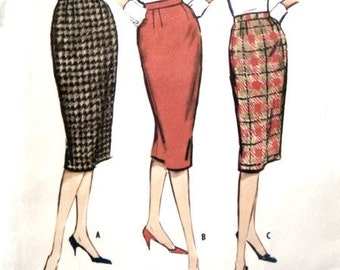 Pencil Skirt Pattern: Vintage 50s Skirts in Three Styles 25 Waist 34 Hip McCall's 5082