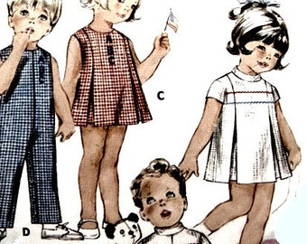 Vintage 60s Toddler One Piece A Line  Dress or Playsuit Girls or Boys Size 2 Butterick 5757