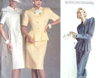 Vintage Vogue American Designer Sewing Pattern 1862 Albert Nipon 31 or 32 Bust 80s Dress and Jacket Big Shoulders Peplum