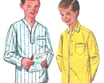 Vintage 50s Boys Pyjamas Sewing Pattern Uncut Size 10 Chest 28 Retro NIGHT TIME COOL