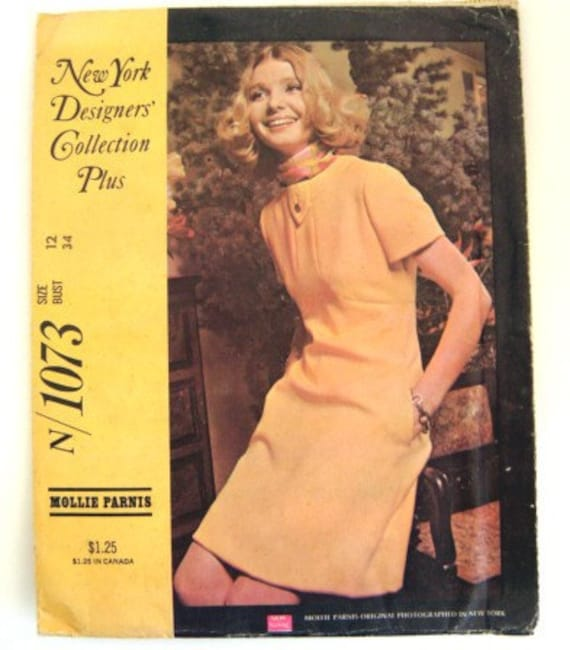 Vintage 60s Mod Dress New York Designers Collection Sewing Pattern Mollie Parnis Bust 34 Mad Men