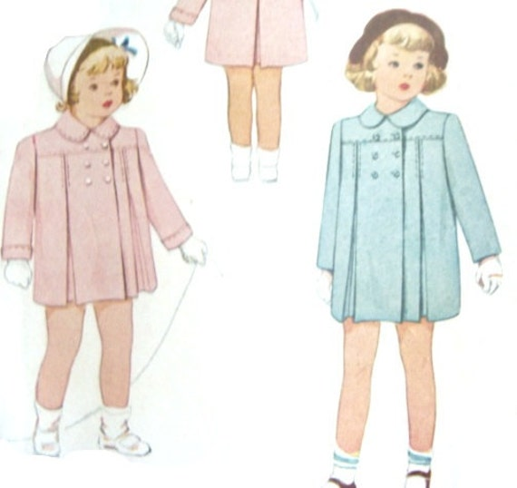 Cute Coats: Vintage 40s Girls Size 2 Coat Jacket Patterns McCall 6195 Uncut Sewing Pattern