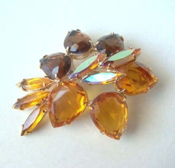 Vintage 50s Rhinestone Brooch Large Amber and Iridescent Stones Flower Shape Marquis Cut