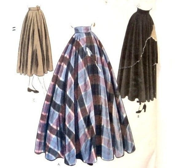 Vintage 50s Sewing Pattern Full Floor Length Skirt Or Mid