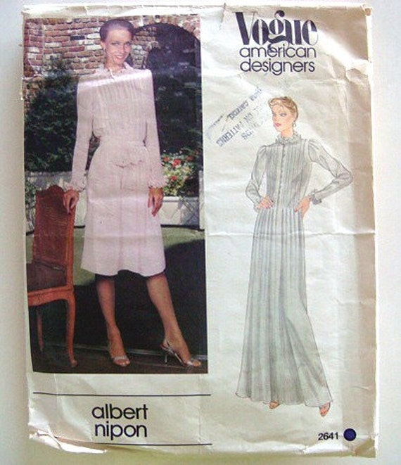 Albert Nipon Vintage 70s Vogue American Designer Pattern Designers Long Pleated Maxi Dress or Knee Length 34 Bust