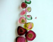 Succulent Rare Watermelon Tourmaline Bead Slices-100 plus cts- STRAND A