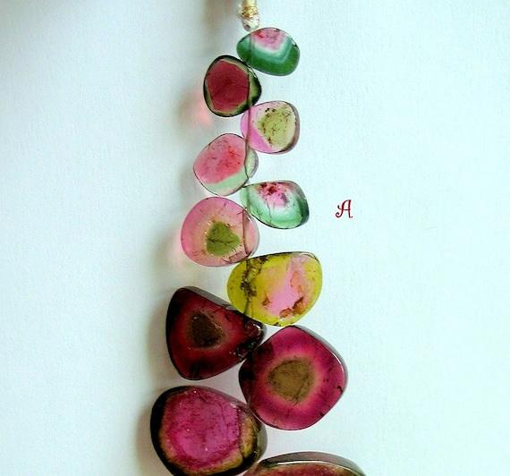 Succulent Rare Watermelon Tourmaline Bead Slices-100 plus cts- STRAND A