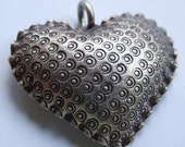 Metal Textured Heart Pendant Brown- Reserved for hyppo2310