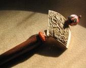 Chinese Cinnabar Fan of a Silent Song Bird SHORT Hair Stick or Shawl Pin