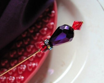 I Shall Wear Purple Bling Victorian Hatpin