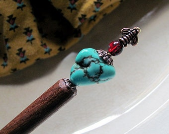 Southwestern Flair For Your Hair Beaded Wood Hair Stick or Shawl Pin
