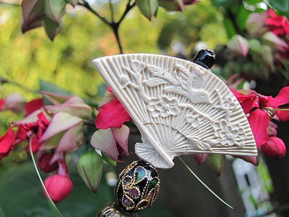 Ivory Cinnabar Fan of the Orient Hair Stick or Shawl Pin