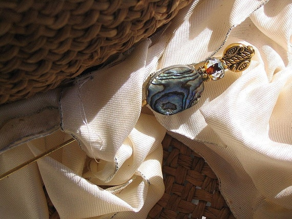 Turquoise Swirls of a Silvery Sea Abalone Victorian Hat Pin