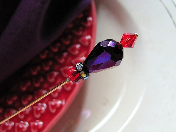 I Shall Wear Purple Bling Victorian Hat Pin