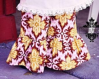 girls Ruffle pants - Spring ruffle pant- cotton- floral pants- girls spring outfit- ruffle bottom girl- toddler bottoms- boho ruffle pant