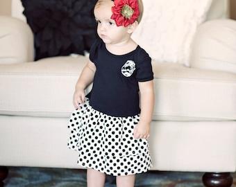 Ready to Ship 6-12m Girls  Polka Dot Ruffle Dress