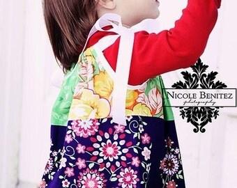 girls pillow dress- baby dress- summer dress- girls outfit- girls spring outfit- boho kids clothing- blue- green dress- baby gift