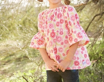 baby girls tunic- tunic- baby peasant  top- spring baby clothing tunic- pink floral top- baby sale clothing- kids clothing- floral top