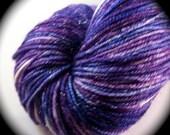 AMETHYST - All that Glitters Sock - REAL Silver, Superwash Merino Wool, Silk - Yarn Lust Threads