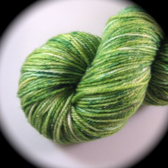 PERIDOT - All that Glitters Sock - REAL Silver, Superwash Merino Wool, Silk - Yarn Lust Threads