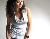 Heather Grey Cowl Blouse - Tank - Jersey Tshirt - Made to Order